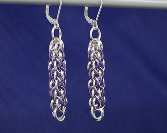 Silver Plated Chainmaille Earrings, Silver Earrings, Candy Cane Cord Chainmaille, Chain mail Jewellery, Lilac Earrings