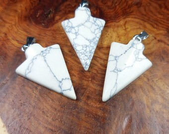 Arrowhead Necklace - White Howlite Pendant - Carved Polished Stone Jewelry (X12) Healing Crystals and Stones - Natural Gemstone Arrow Head