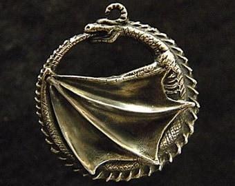 Dragon Ouroboros: Sterling Silver Pendant