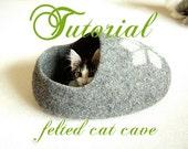 Cat bed pattern for a clog shaped cat cave - felt cat cave tutorial - diy gift