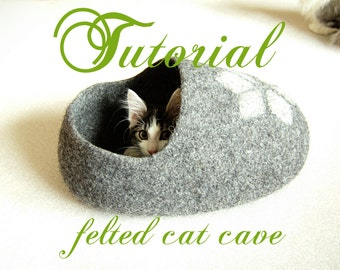 Cat bed pattern for a clog shaped cat cave - felt cat cave tutorial - diy gift - pets pattern