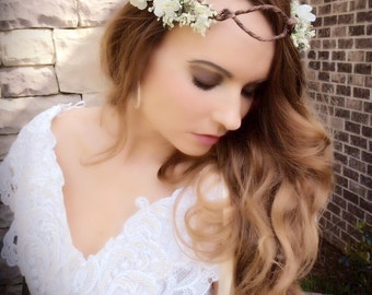 Rustic wedding crown/ivory / shabby chic /ribbons / adjustable