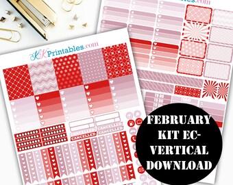 February EC Vertical Printable Planner Stickers // Erin Condren Printable / Plum Paper Planner / Planner Instant Digital Download 00129