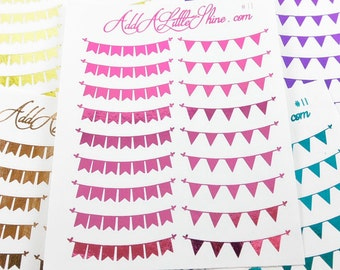 Bunting Flags Banner Foiled Planner Stickers - 18 ct. [#11]