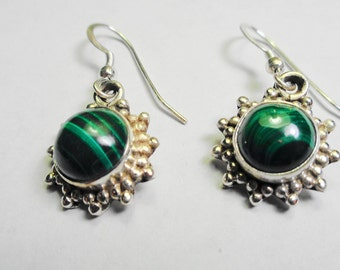 Malachite Earrings.  8mm. Round Malachite Drop Silver Earrings.