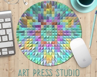 Geometric Mouse Pad, Triangles MousePad, Geometric Triangles Mouse Pad, Pyramids Mousepad