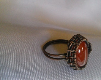 copper ring , wire wrapped ring , handmade jewelry ,