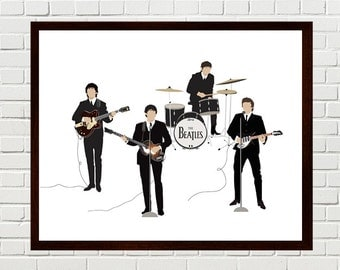 Beatles Art, Beatles Minimalist Portrait, Ed Sullivan Show Beatles, 1964, Minimalist Poster