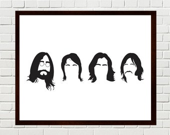 Beatles Art, The Beatles, Beatles Print, Beatles Silhouettes, The Beatles minimalist portraits