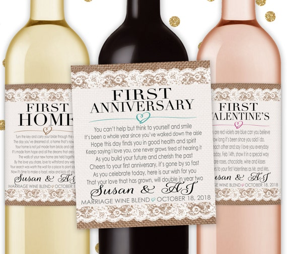 Wine Firsts Wedding Gift: Marriage Firsts Milestones Poems Wedding Gift Wine Champagne