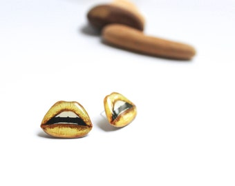 Gold lips earrings , Glamorous lips studs , lips gift idea , gold lips jewelry , gift for her