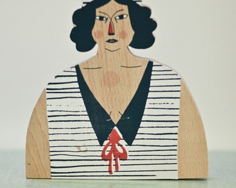 BATHER. Object wood decor. Screen printing 3 colours