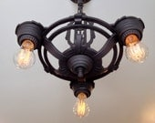 Farmhouse Art Deco Hanging Ceiling Fixture, Charcoal Black, 1930's, Rewired, Ready to Install. Manufactured by Electrolier
