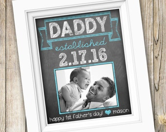 First Time Dad Gift ~ Father's Day Gift for Him ~ New Daddy Gift ~  First Father's Day Print Printable Father's Day Custom Photo Art DIGITAL