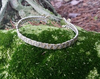 Solid Brass and .925 Silver Adjustable Cuff Bangle