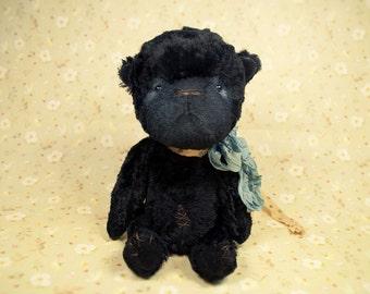 Artist teddy bear, antique sawdust teddy bear, vintage, 7in, black ooak eco bear, Melochy, Maria Trotsenko