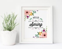 Hello Spring Print, welcome spring print, spring wall art, floral print, spring flowers print, spring poster, home decor, spring holiday