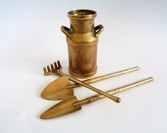 Brass Garden Tool Set, Small Garden Tools, Spade, Rake, Brass Gardening Tool Set with Stand