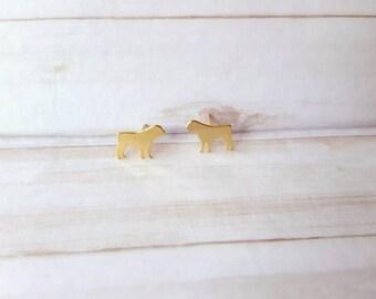 ROTTWEILER EARRINGS!! Cute earrings for dog lovers in 24k gold plated over copper