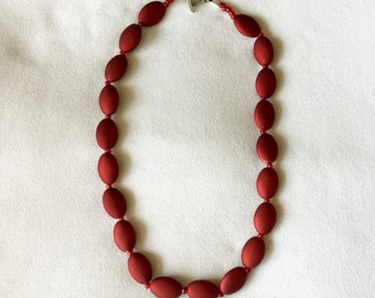 "Red Beaded Necklace 18"" and Earrings."