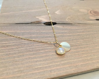 Moonstone Disc Necklace