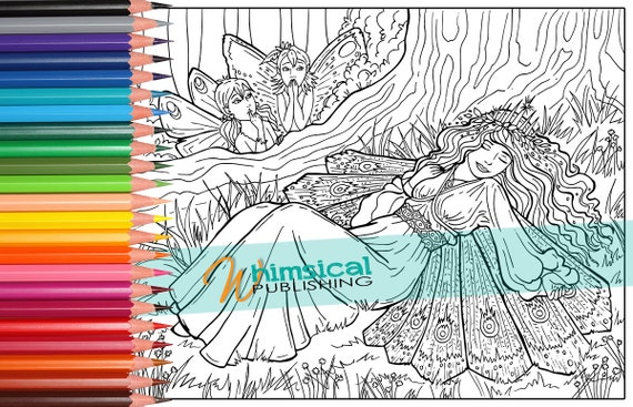 fairy coloring pages sleeping beauty by whimsicalpublishing. Black Bedroom Furniture Sets. Home Design Ideas