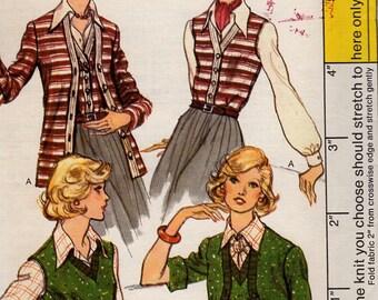 FREE US SHIP Vogue 8726 Vintage Retro 1970s 70s Knit Sweater Set Cardigan Vest Uncut 10 Bust 32.5 Vintage Sewing Pattern