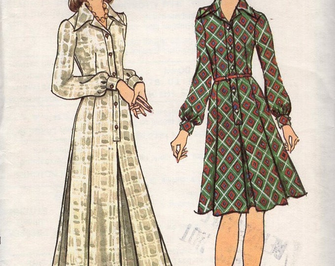 Free Us Ship Sewing Pattern Vogue 8491 Vintage Retro 1970s 70s Evening Length Day Maxi Shirtdress Dress Size 10 Bust 32 Uncut