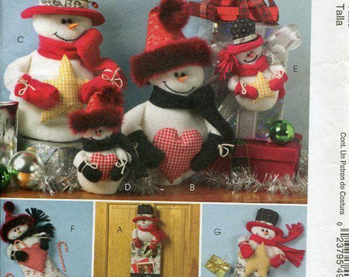FREE US SHIP McCall's 4996 Christmas Crafts Snowman Family Stocking Card Holder Uncut Out of Print Sewing Pattern