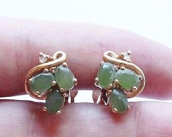 Vintage Gold Plate & Jade Clip Earrings