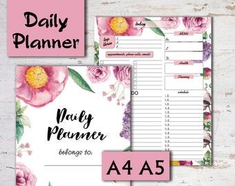 Daily Planner Printable, Floral planner organizer, daily planner, Day Planner printable planner daily organizer, schedule pdf, InArtPlanner