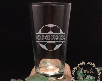 Soccer Coach Gift | Soccer Coach Etched Glass | Personalized Coach Gift | Coach Gift  Personalized Soccer Gift  Soccer Beer Pint