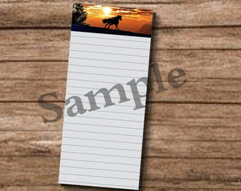 Printable Shopping List Equestrian Horse  Running Approx.Size 4''x 11'' Notepads-Shopping Note pads-Vintage-PDF,JPEG & PNG Files,300 dpi.