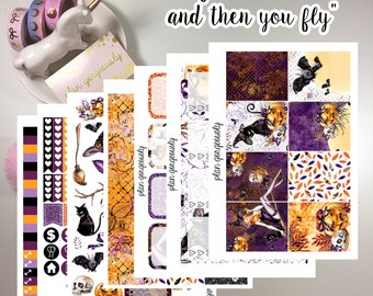 """Erin Condren and Happy Planner Sticker Kit - """"Life Is A Witch And Then You Fly"""" - Halloween planner stickers"""