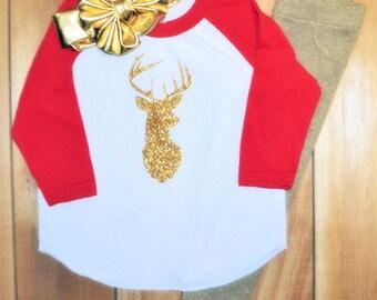 Deer raglan tee, gold glitter jegging, and big bow headband