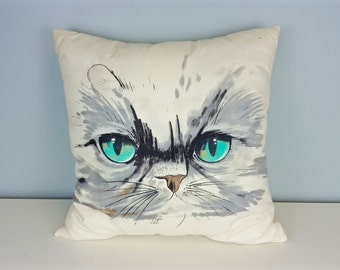Vintage Cat Pillow, Large Cat Throw Pillow, Gray Cat Turquoise Eyes, Cat Pattern Decor, Cat Pattern Pillow, Cat Lover Gift, Gray White Aqua