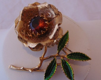 Vintage Gold Tone Sarah Coventry Rhinestone Flower Brooch