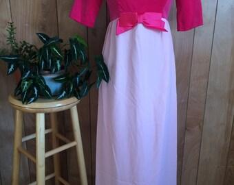 Vintage 1960's Pink Velour Maxi Party Dress S/M
