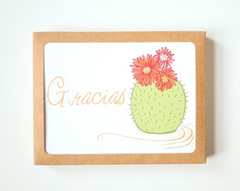 Spanish Thank you Card Set, Set of 10, Gracias Card, Cactus, Blank Card, Green & Red Cactus, Gracias Greeting Cards