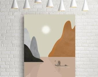 Minimalist print, landscape print, sunset print, sunset poster, nature print, nautical print, pastel colours print, modern wall art, giclee