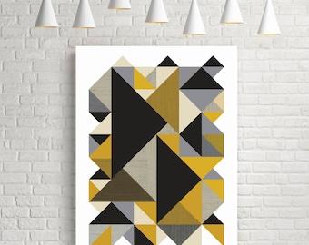 Geometric print, large wall art, art, wall art, gift for men, fine art prints, room decor, yellow, grey, black, poster, texture, organic