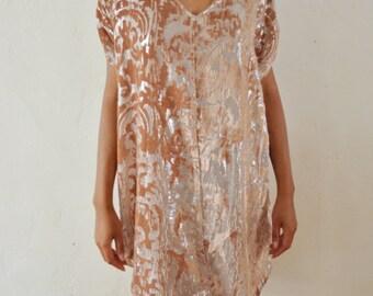 Velvet Burnout Poncho Dress