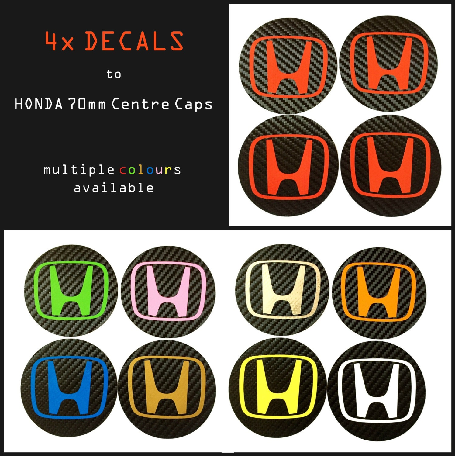 X Honda Carbon Fiber Vinyl Wheel Rims Centre Cap Stickers - Honda accord decals stickers
