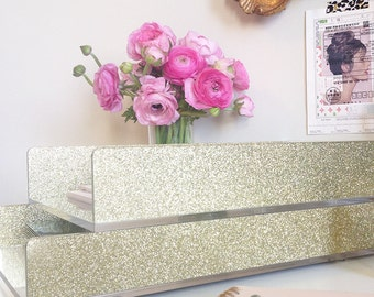 new letter tray acrylic gold glitter desk accessories made in usa set of 2 trays