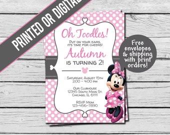 Printed or Digital File - Minnie Mouse Birthday Invitation