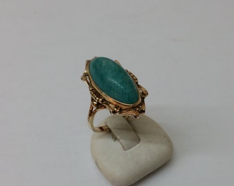 Old gold ring 375 gold with Amazonite vintage GR176