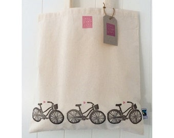 Handprinted Bicycles and Hearts Fairtrade Cotton Tote
