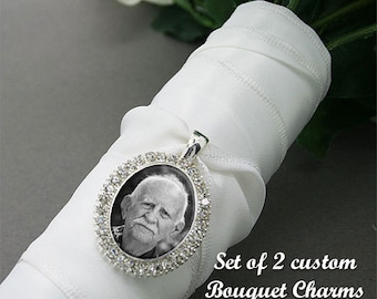 Custom Made With Your Photo Silver Rhinestone Oval Wedding Bouquet Charm Set Of Two