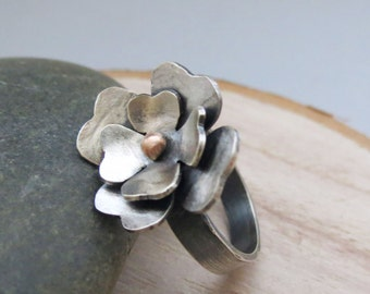 Dogwood Ring, Sterling Silver and Solid Gold Flower, Rustic Nature Jewelry, Mixed Metals, Botanical Jewelry, Blossom Ring, Statement Ring