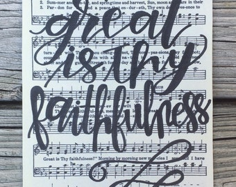 """5x7"""" hand-lettered """"great is Thy faithfulness"""" hymn art   ink on printed cardstock paper"""